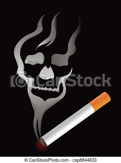 Cigarette with skull smoke shape  - csp8844633