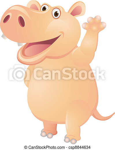 Funny Hippo  - csp8844634