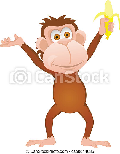 Funny cartoon monkey with banana is - csp8844636