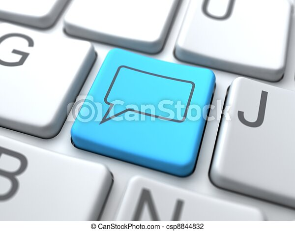Speech Bubble-Blue Button on Keyboard. Social Media Concept. - csp8844832