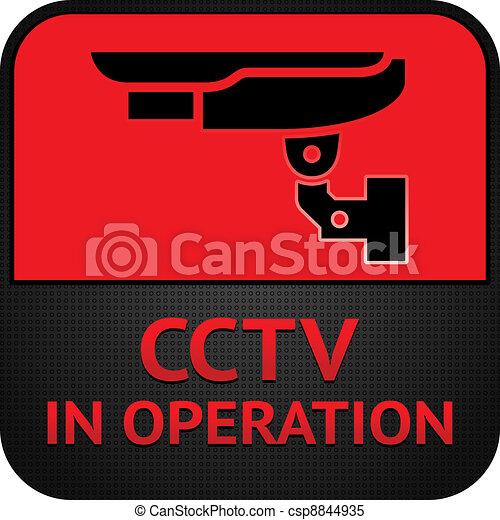 CCTV pictogram, symbol security camera - csp8844935