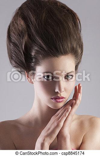Photo de coiffure, brunette, dame, créatif - fin, haut, portrait ...