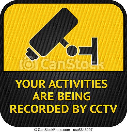 CCTV pictogram, video surveillance sign - csp8845297