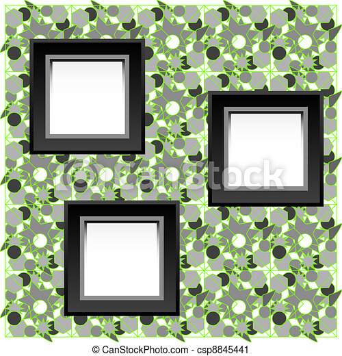 vintage photo frame set, mounted with photo corners and tape - csp8845441