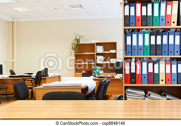 Modern office interior with tables, chairs and bookcases. Nobody - csp8846146