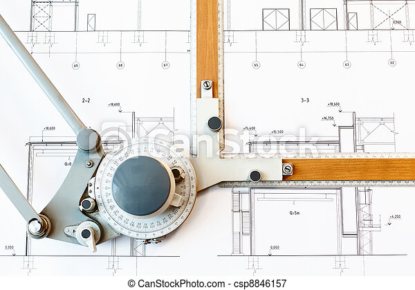 Old-fashioned drawing board with white project blueprint - csp8846157
