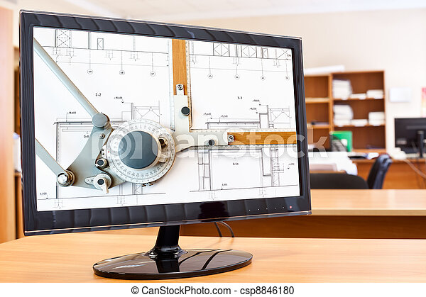Computer monitor with blueprints and drawing board picture in screen on desktop - csp8846180