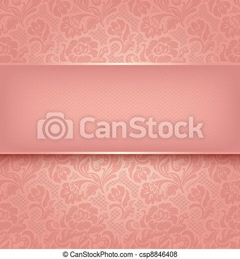 Lace background, pink ornamental fabric textural. Vector eps 10 - csp8846408
