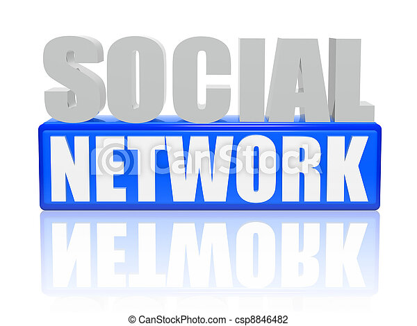 social network - letters and cubes - csp8846482