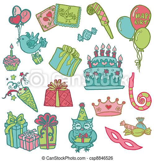 Hand drawn Birthday Celebration Design Elements - for Scrapbook, Invitation in vector - csp8846526