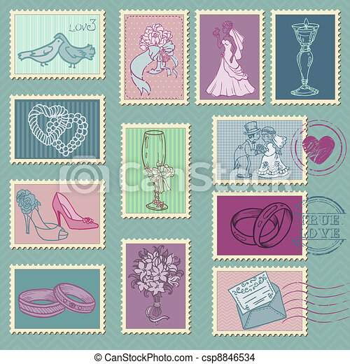 Wedding Postage Stamps in vector - csp8846534