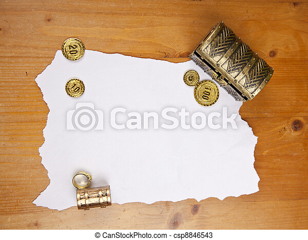 Pirate blank map with treasure, coins and ring - csp8846543