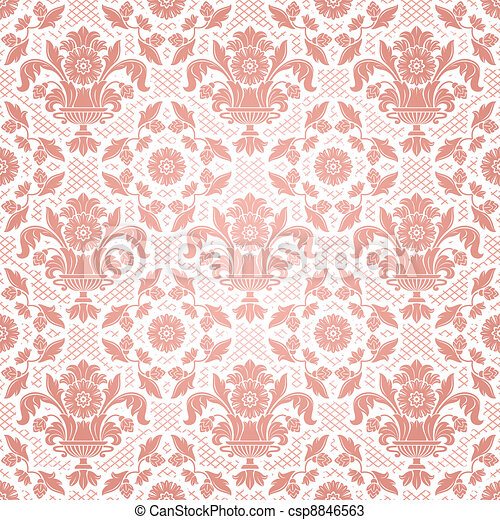 Lace background, pink ornamental flowers - csp8846563