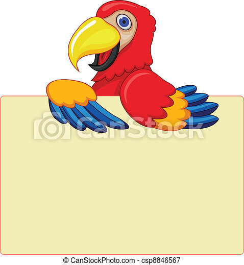 Parrot With Blank Sign - csp8846567