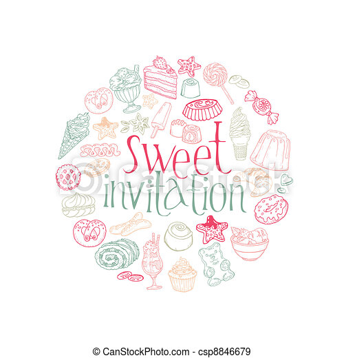 Set of Cakes, Sweets and Desserts -Invitation Card in vector - csp8846679