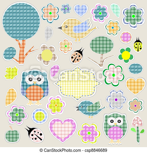 Nature textile stickers - csp8846689