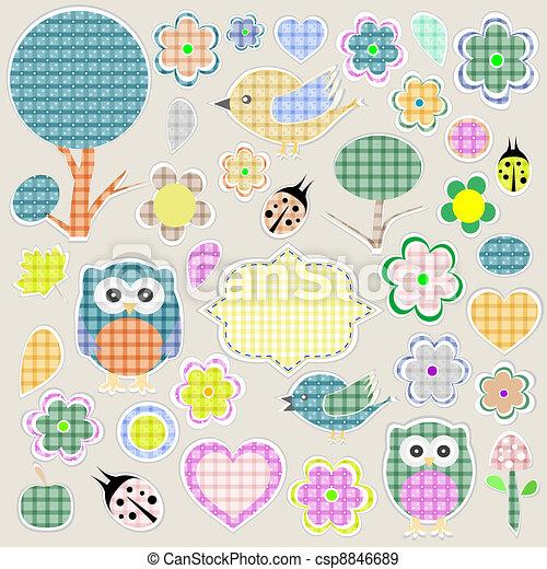 Nature textile stickers - csp8846689