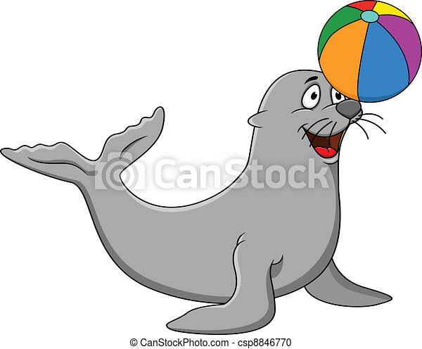 Seal  playing - csp8846770