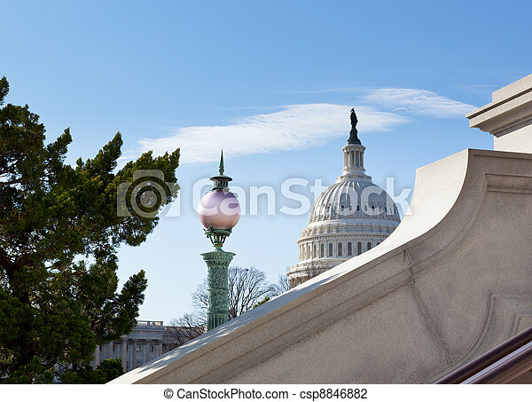 Dome of Capitol Washington DC with sky - csp8846882