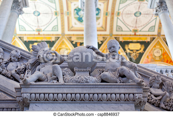 Carving in Library Congress in Washington DC - csp8846937