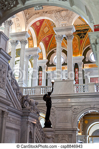 Ceiling of Library Congress in Washington DC - csp8846943