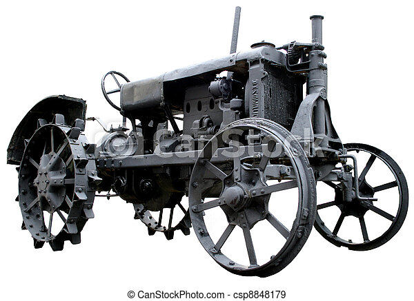 isolated rusty obsolete vintage tractor on white background - csp8848179