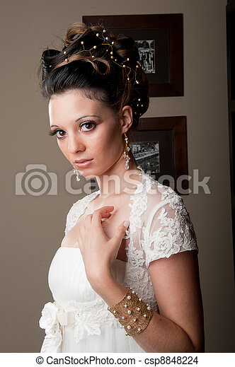 beautiful bride looking candid - csp8848224