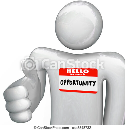 Hello My Name is Opportunity Nametag Person Handshake - csp8848732