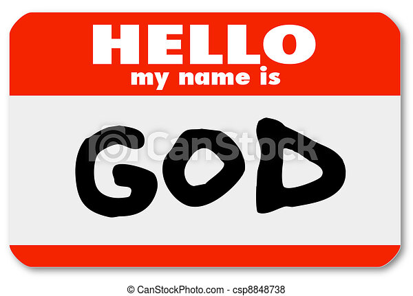 God Nametag Introduction Welcome to Religious Faith - csp8848738