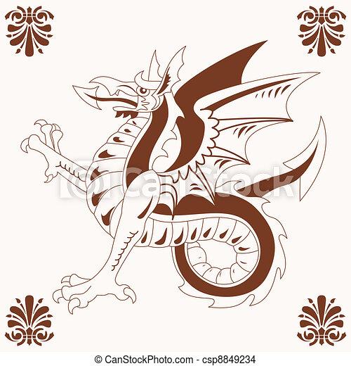 Vintage medieval dragon (Wyvern) - csp8849234