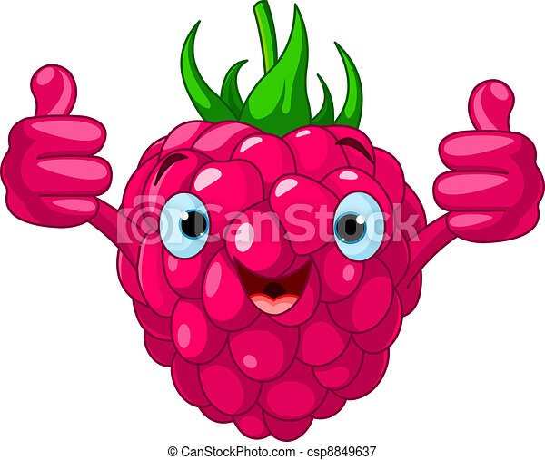 Cheerful Cartoon Raspberry charact - csp8849637