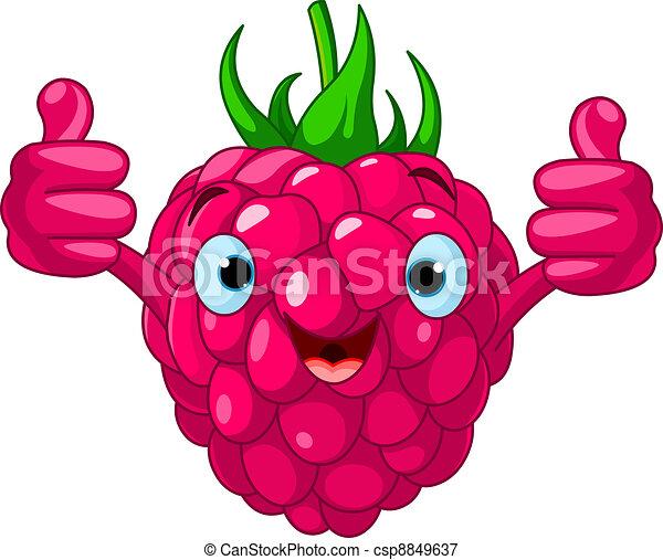 Cheerful Cartoon Raspberry charact - csp8849637