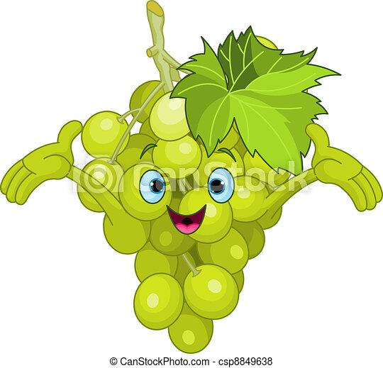 Cheerful Cartoon Grape character - csp8849638