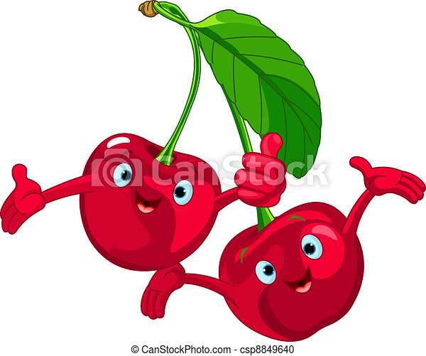 Cheerful Cartoon Cherries characte - csp8849640