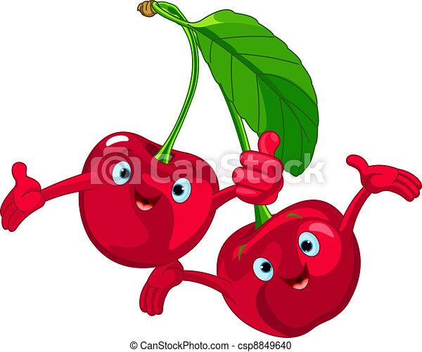 Cheerful Cartoon Cherries characte - csp8849640