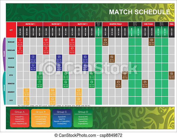 schedule for UEFA EURO 2012 - csp8849872