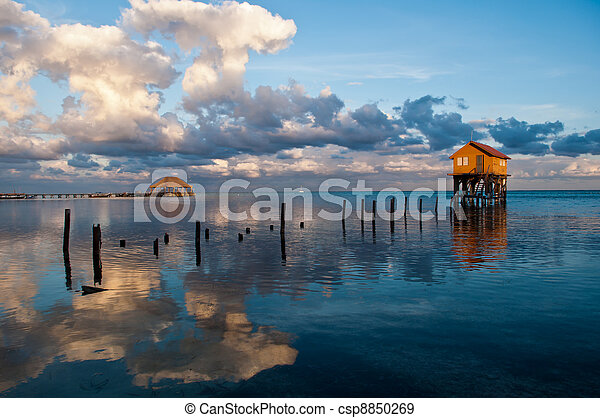 Home on the Ocean in Ambergris Caye Belize  - csp8850269