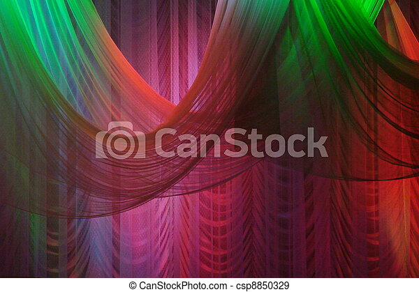 Scene background curtains illuminated with color lights - csp8850329