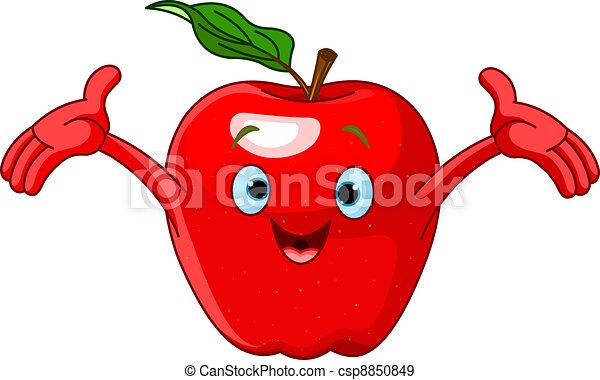 Cheerful Cartoon Apple character - csp8850849