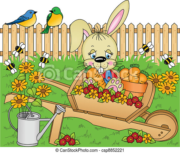 Clip art vecteur de lapin dans les jardin image - Mon petit lapin s est sauve dans le jardin ...
