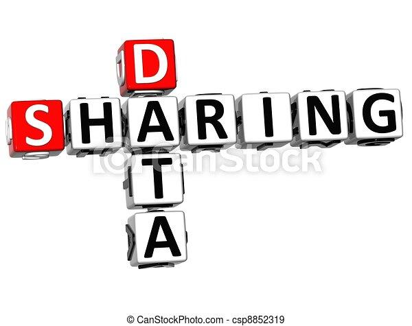 3D Sharing Data Crossword cube words - csp8852319