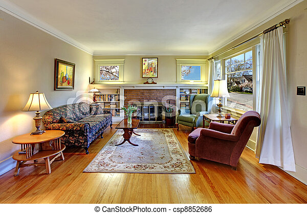 Old house English living room interior. - csp8852686