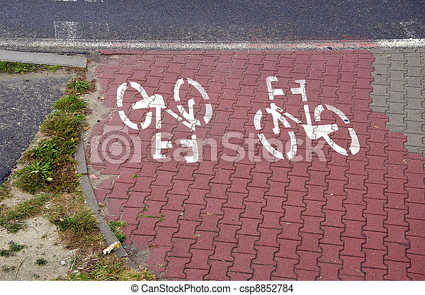 bicycle track with symbols in the city - csp8852784