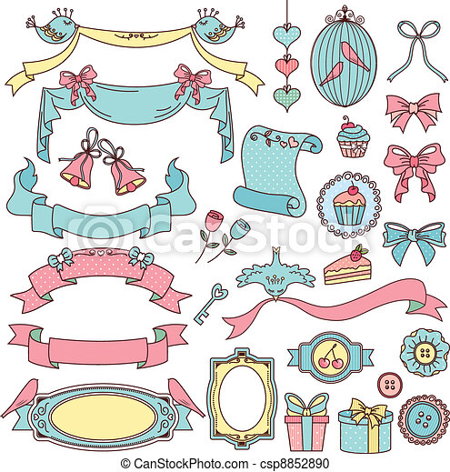 vintage doodles - csp8852890
