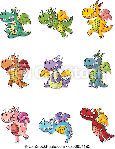 cartoon fat fire dragon icon set - csp8854195