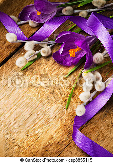 vintage Easter card, spring flowers on a wooden background - csp8855115