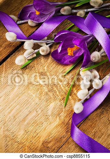 卡片, 木制, 春天, 背景, 葡萄酒, 花, 復活節 - csp8855115
