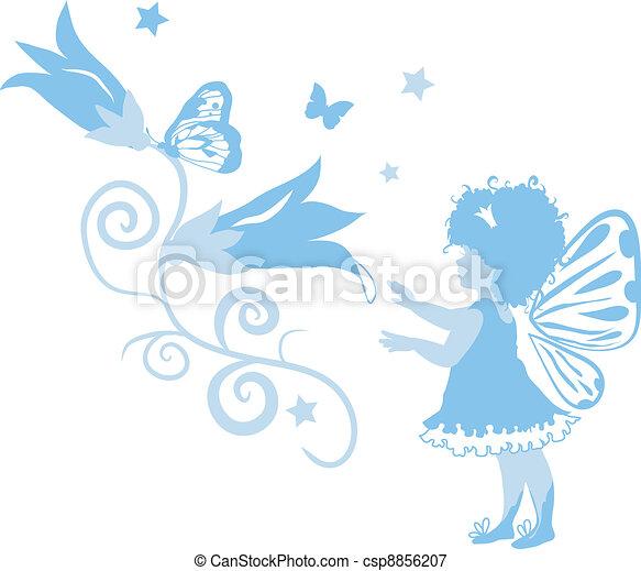 Fairy Little Girl Silhouette - csp8856207