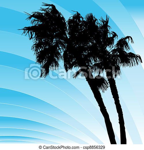 Windy Bending Palm Trees - csp8856329