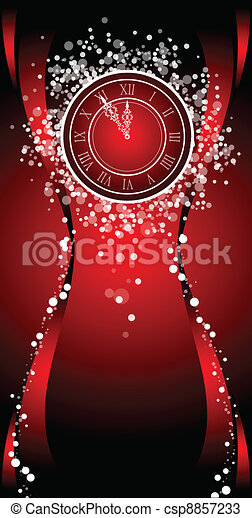 New Year wish Card with clock - csp8857233